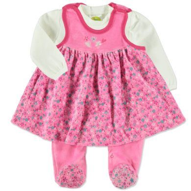 Niedliches Baby Strampler-Set bestehend aus einem Langarmshirt und passendem Strampler aus kuschelweichem Nicki.