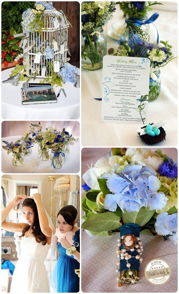 A lovely rustic-chic blue + green + white theme, ph Holman Photography http://www.brideinitaly.com/2013/10/holmanvenice.html #italianstyle #wedding
