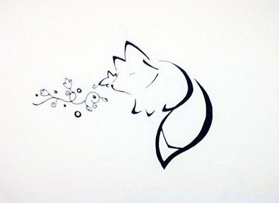 Черно белый эскиз тату с цветами: Черно-белый эскиз тату - лиса