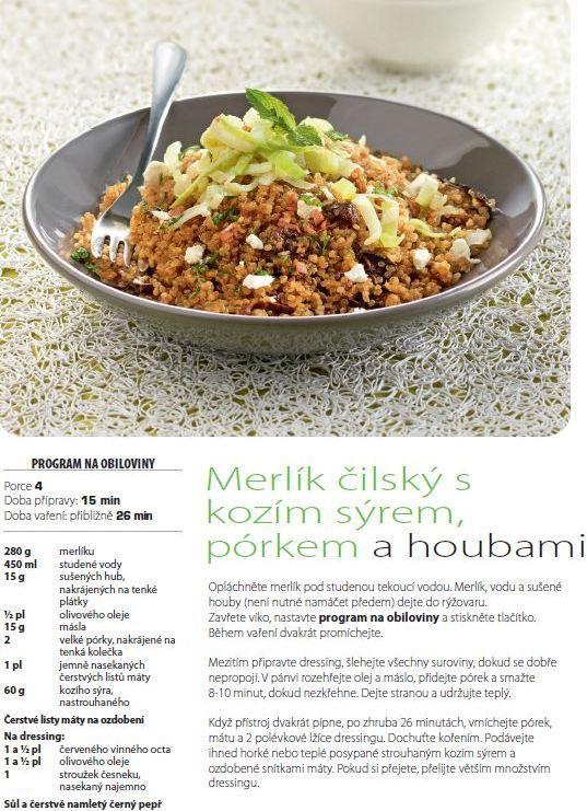 Merlík čilský s kozím sýrem a houbami recept, Tefal Multifunkční hrnec 8v1 RK302