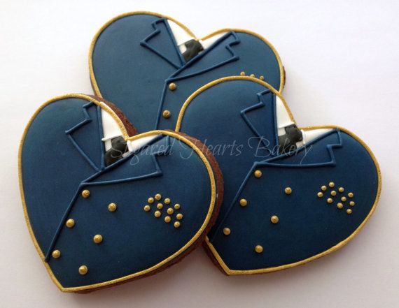 1 Dozen Bride and Groom Navy Heart Wedding by SugaredHeartsBakery