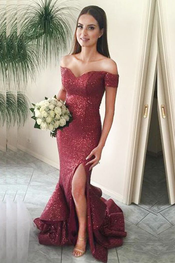 4ca5cb18480d0 Silhouette:Mermaid/Trumpet,Neckline:Off-the-Shoulder ,Hemline/Train:SweepTrain,Fabric:Sequined ,SleeveLength:Sleeveless,Embellishment:Ruffles,Sequins ...