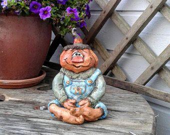 Zucca di ceramica - decorazione di Halloween - zucca figura - ceramica arredamento - decorazione primitiva caduta - primitiva zucca - autunno rustico Decor-