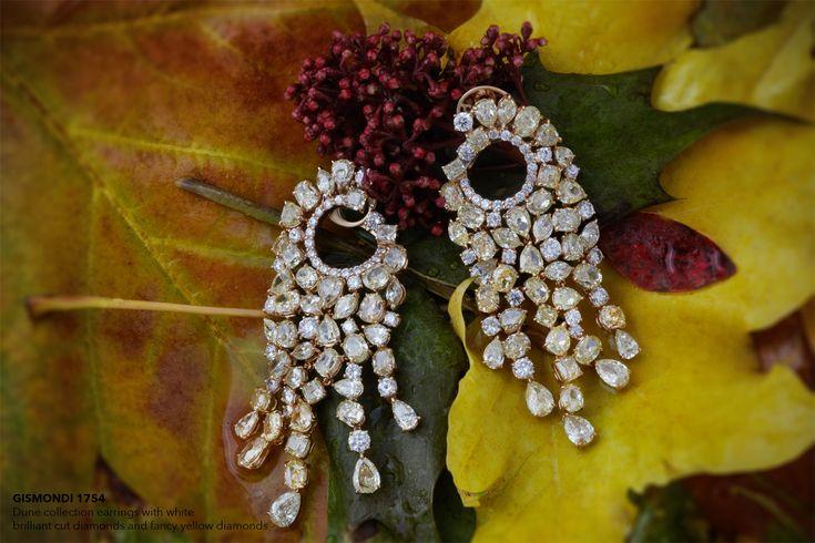 GISMONDI 1754 Dune collection earrings with white brilliant cut diamonds and fancy yellow diamonds