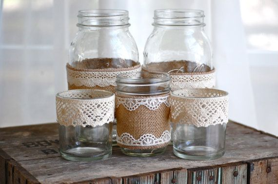 Burlap and lace mason jars / rustic wedding / country wedding / vase