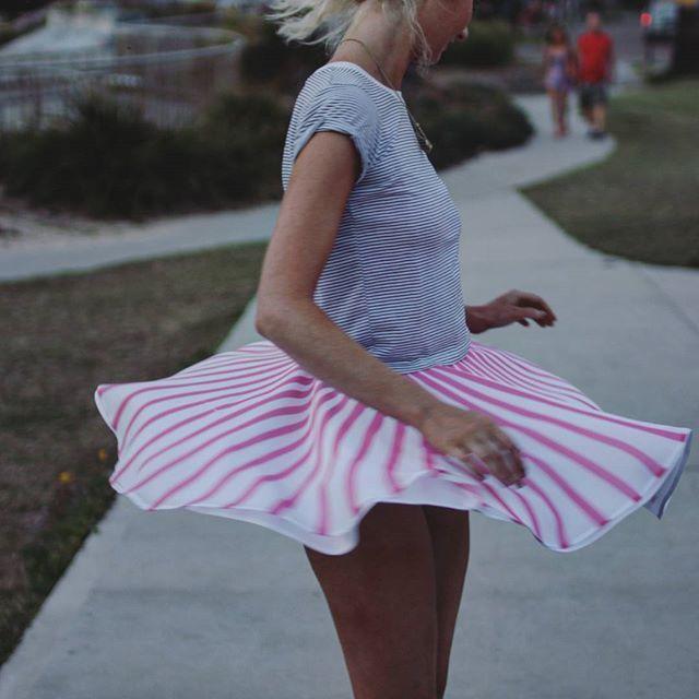Spin skirt to show upskirt