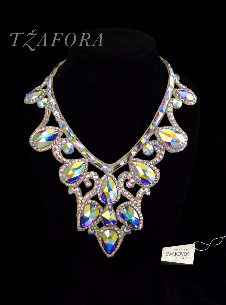 Ballroom necklace with giant teardrop crystals. Good for standard. Visit http://ballroomguide.com/comp/hair_make_up.html for more hair and makeup info