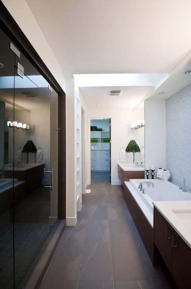 82 best home bathroom long narrow images on pinterest for Long bathroom designs