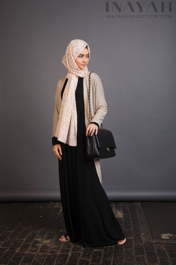 Oatmeal Thin Knit Cardigan paired with the Pink Leaf Hijab for a stylish and modest look. www.inayahcollection.com #modestfashion#cardigan#inayah