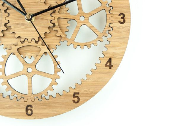 Wooden Industrial Wall Clock Unique Clock Cog Wall by BeamDesigns