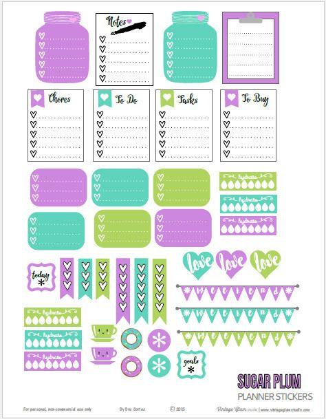 FREE Sugar Plum Planner Stickers | Free Printable by Vintage Glam Studio