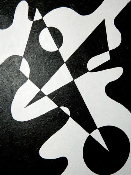 Black & White Geometric Abstract Shape Painting by CMagyarArt