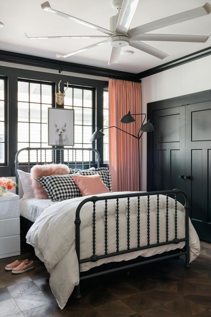 The Chic Technique:  See the transformation of HGTV's bungalow escape in a series of photos. Bedroom featuring pink, black and white bedding and drapery. We capture the dramatic remodel, space by glorious space.