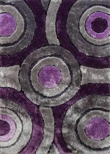 Modern Living Shag Area Rug Style 110 Gray Purple Hand Tufted Weave