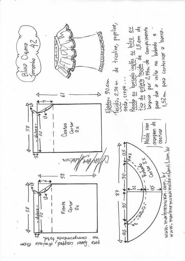 Blusa gitana | trazado de patrones de Xioma | Sewing, Sewing ...