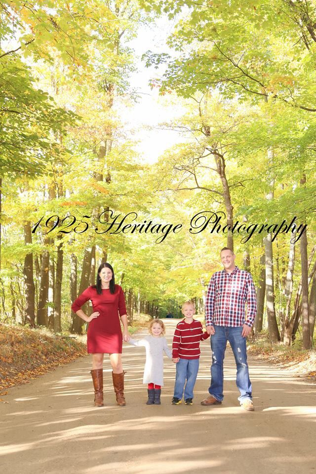 Family photo on a dirt road