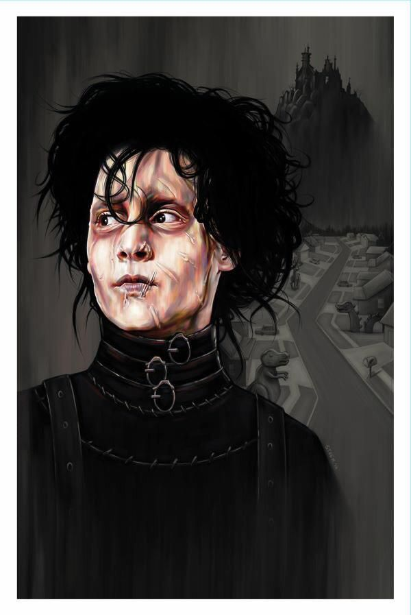 "Edward Scissorhands - Justine 'Steen' Pulles - ''Edward'' ---- Art featured in Gallery1988 presents ""Crazy 4 Cult Back in LA"" Art Show (2014-12)"
