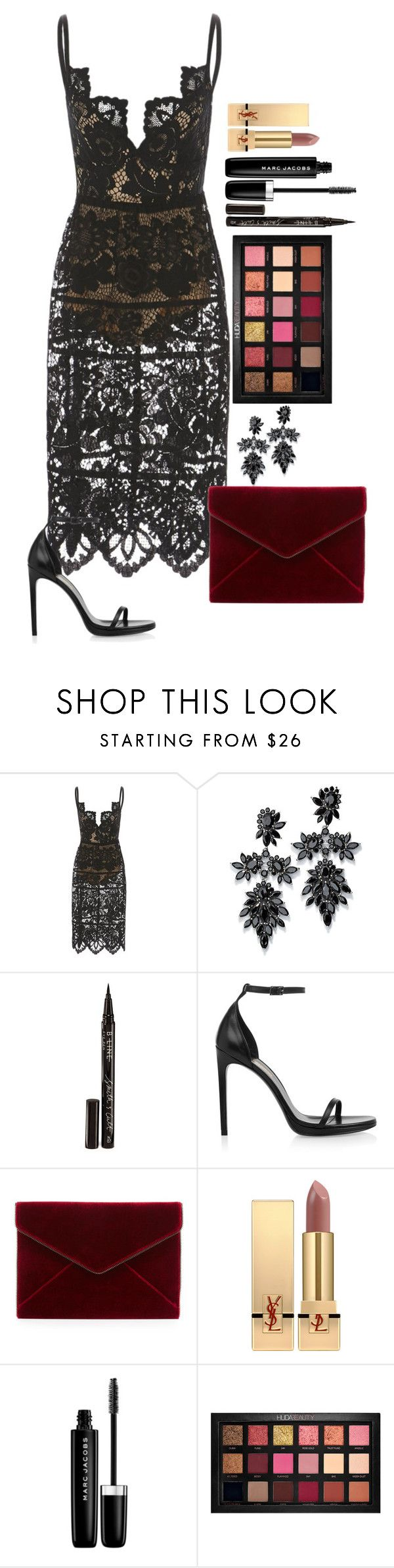 """""""Untitled #1650"""" by fabianarveloc on Polyvore featuring Fallon, Smith & Cult, Yves Saint Laurent, Rebecca Minkoff, Marc Jacobs and Huda Beauty"""