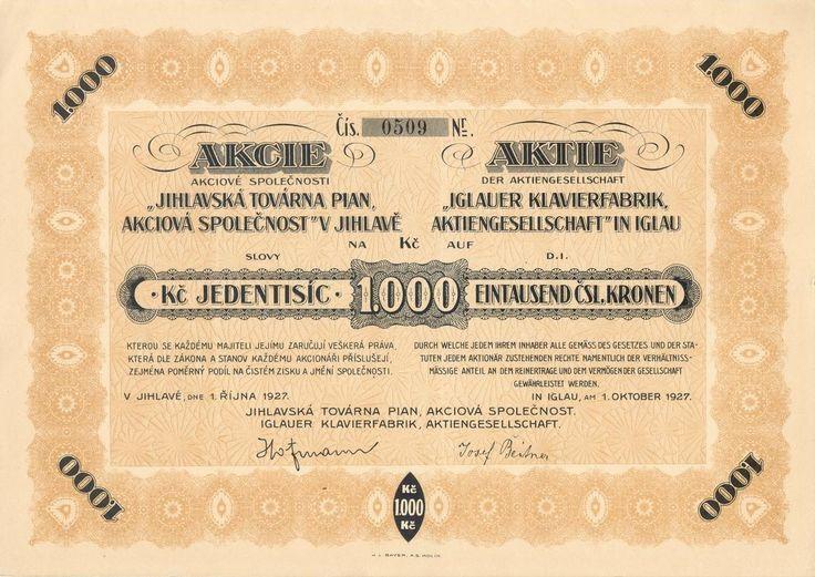 Jihlavská továrna pian, akc. spol. (Iglauer Klavierfabrik AG. in Iglau). Akcie na 1000 Kč. Jihlava, 1927.