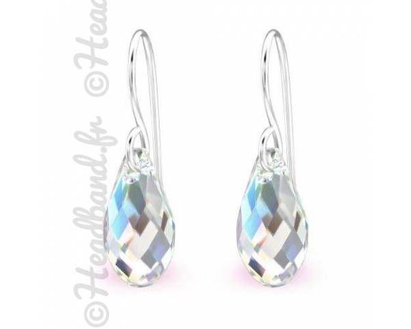 Boucles pendentif goutte cristal Swarovski AB