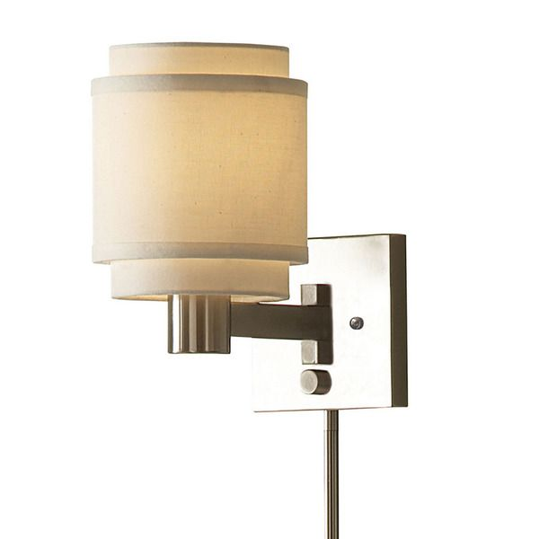 Transitional 1 Light Brushed Nickel Swing Arm Pin Up Plug In Wall Lamp