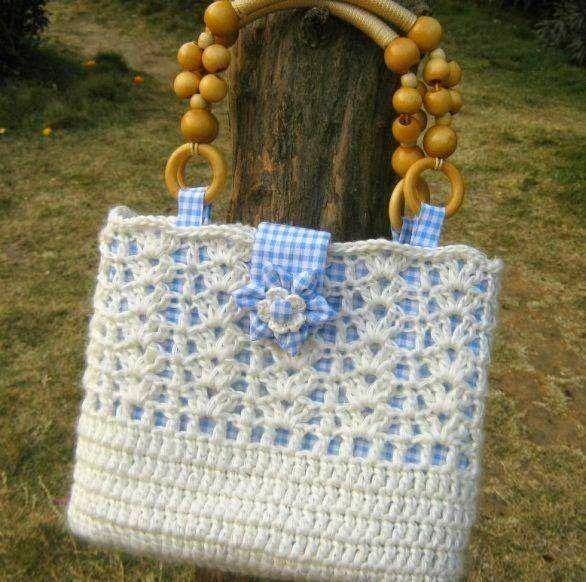 Horgolás minták: Fehér táska