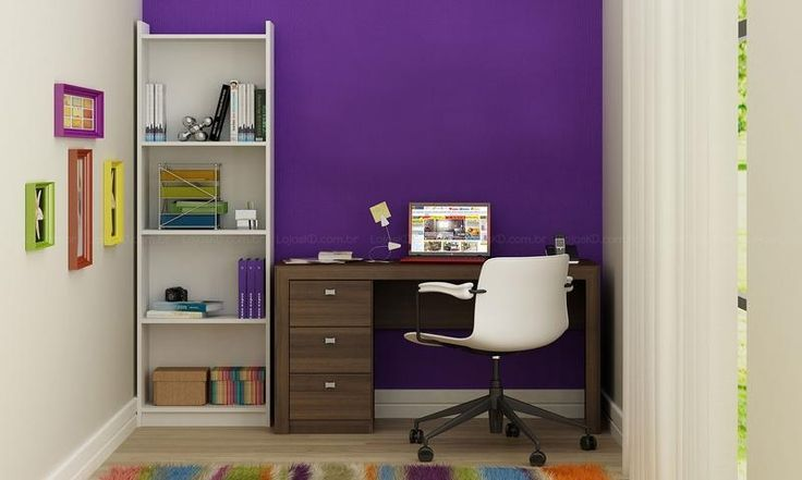 Escritório Home Office com Estante e Escrivaninha Tabaco/Branco - Caaza