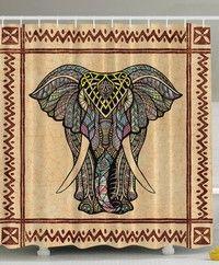 Wish | Elephant Decor Ethnic Tribal Chevron Frame Marble Look Paisley Hippie Hippy Boho Bohemian Celestial Indian Traditional Good Luck Bathroom Textile Polyester Fabric Shower Curtain, Brown Beige Gray