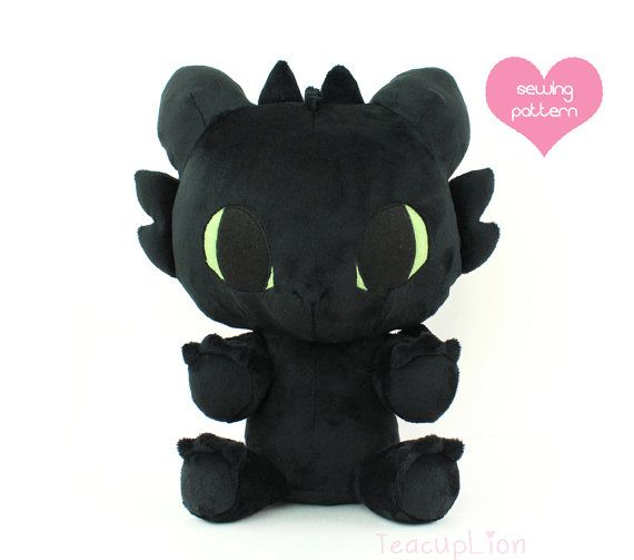 How to Make Your Dragon: Plushie Sewing Pattern PDF - Baby Toothless dragon stuffed animal - HTTYD cuddle plush soft toy 13""