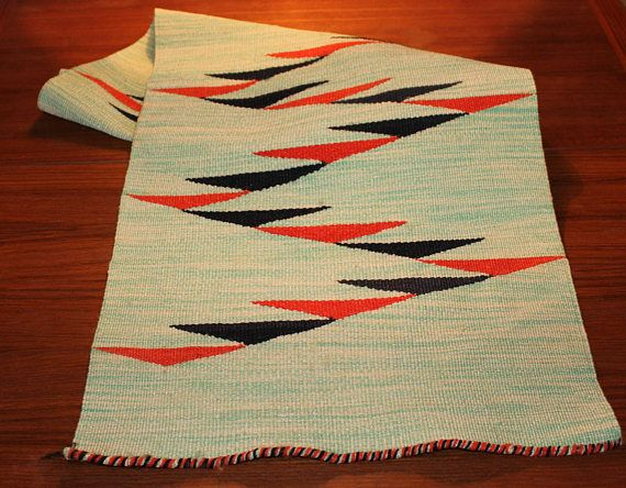 Cool vintage woven Table runner. Turquoise / white base with