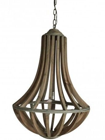 Denver grey wood hanging lamp - PTMD