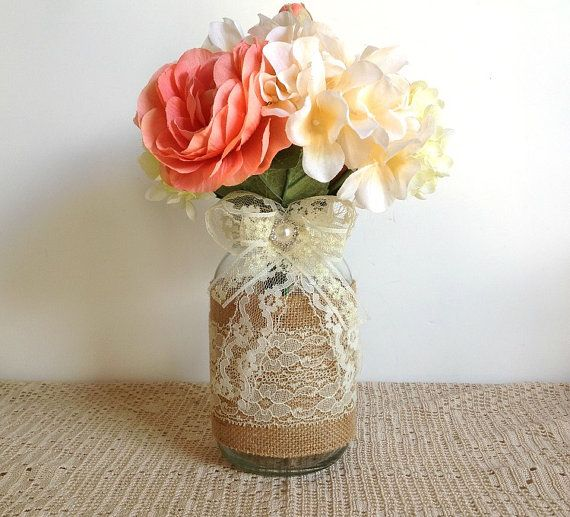 burlap and lace covered mason jar vases - wedding decoration, bridal shower decoration, country chic decoration