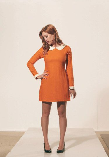 Engagement pictures   Orange dress with white peter pan collar dress 1960s mod design by FrenchieYork on Etsy https://www.etsy.com/listing/166503561/orange-dress-with-white-peter-pan-collar