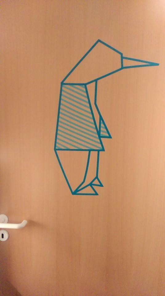 Pingvin made of masking tape from søstrene Grene shops, Denmark, origami inspiration. make it on a wall or a door.