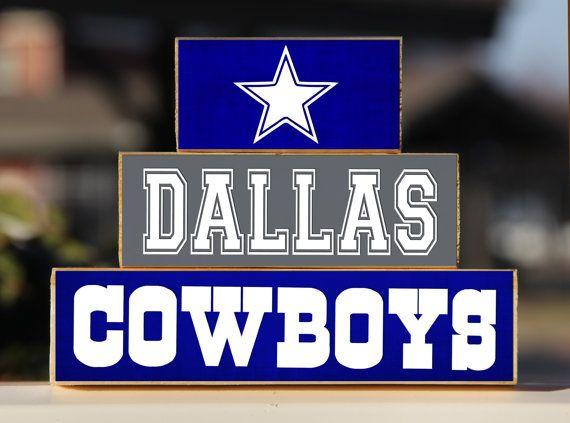 Dallas Cowboys Trio Wood Blocks Stack By Blendedcreationsinc Great Gifts Pinterest