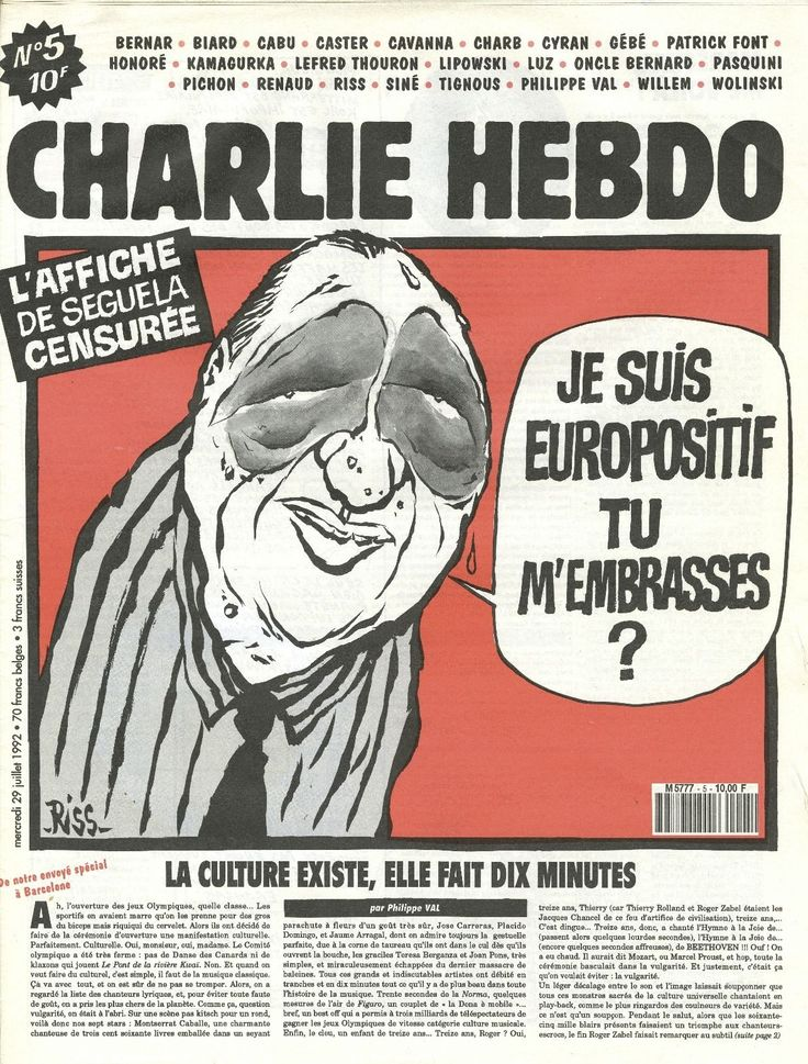Charlie Hebdo - # 5 - 29 Juillet 1992 - Couverture : Riss