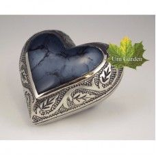 Mystic Blue Heart Keepsake Urn