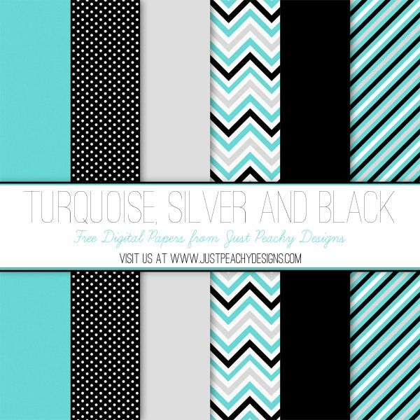 Free Digital Papers: Turquoise, Silver and Black