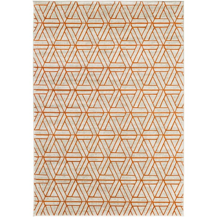 Ginsberg Light Gray/Burnt Orange Area Rug