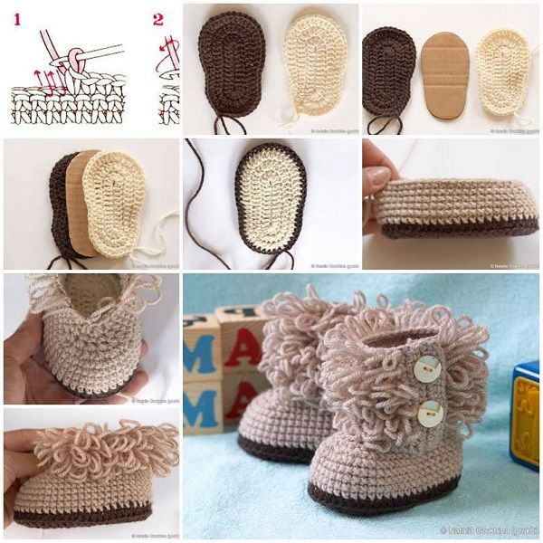DIY Hook Knit Baby Booties