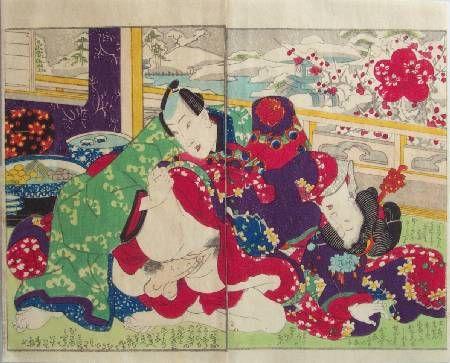 Ukiyo-e Gallery before the snowy window