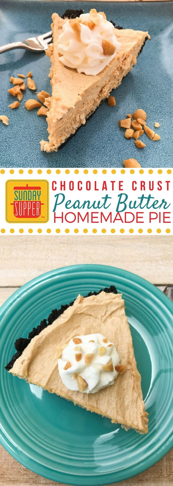 Your family will love this Creamy Peanut Butter Pie with Chocolate Cookie Crust, the perfect summer dessert that's sweet and cold. #SundaySupper