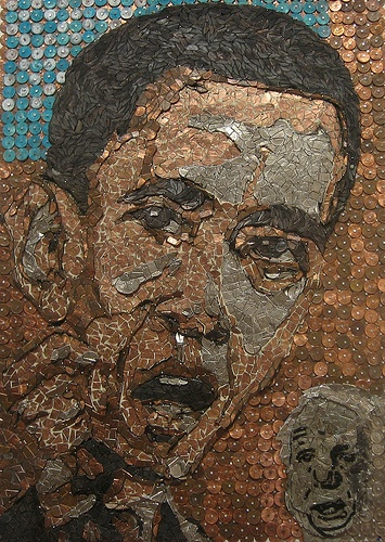 Obama vs McCain – Coin Mosaic – Artist – Theodore Stanke – sokref1    A mosaic made from chopped-up American coins serves as a metaphoric analysis of the upcoming election.