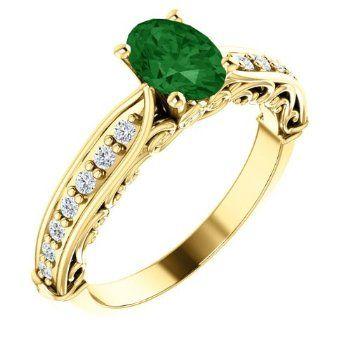 18K Yellow Gold 7.00x5.00mm Oval Cut Chrome Tourmaline and Diamond Ring -- LIFETIME WARRANTY