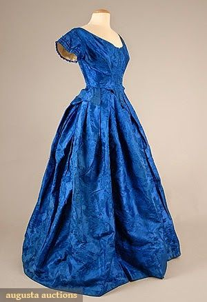 Blue silk ball/evening gown, mid-19th cent.