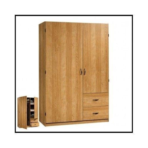 Wardrobe-Closet-Armoire-Storage-Clothes-Cabinet-Bedroom-Large-Wood-Dresser-Oak