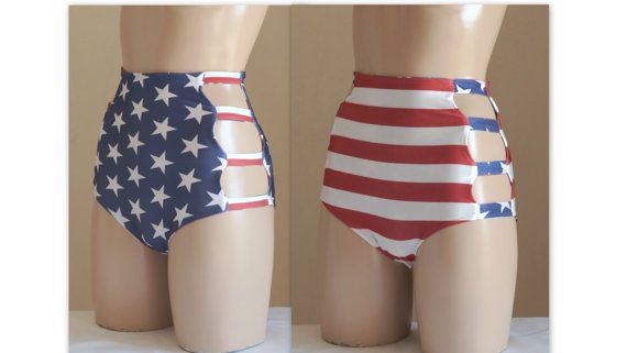 Reversible American flag strappy high waisted bottoms -Women's swimwear-Bathing suit-American flag High waist bottoms-Reversible bikini