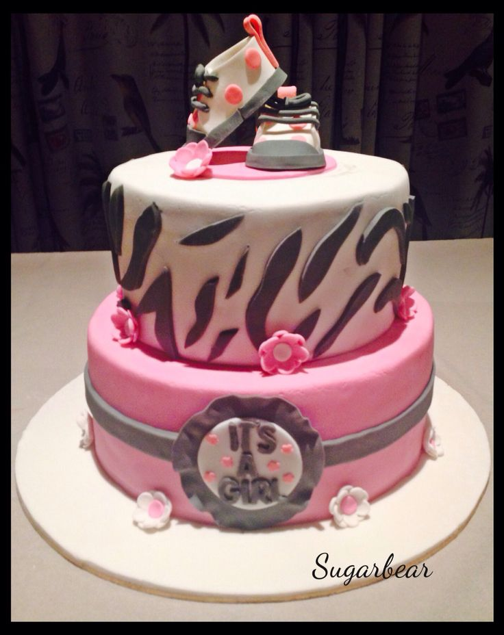 Zebra and converse baby shower cake