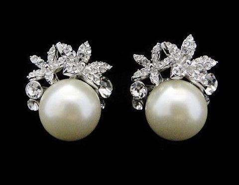 Vintage Style Pearl & Crystal Stud Earrings, Carrie | The Wedding Hair Accessory and Bridal Jewellery Experts. Jules Bridal Jewellery