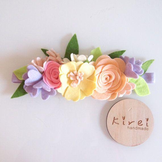 Spring mini flower crown whimsical/ felt flower by kireihandmade